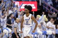 North Carolina's Coby White (2) reacts following a play against Duke during the second half of an NCAA college basketball game in Chapel Hill, N.C., Saturday, March 9, 2019. North Carolina won 79-70. (AP Photo/Gerry Broome)