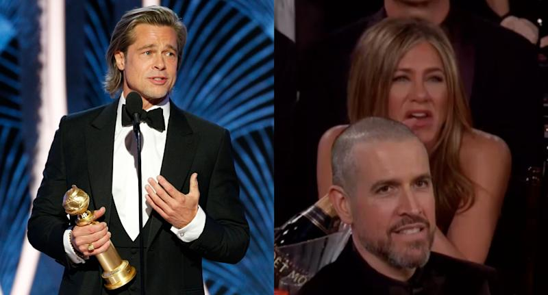 Brad Pitt faz piada sobre a vida amorosa no Globo de Ouro 2020 e Jennifer Aniston reage (Foto: Paul Drinkwater/Getty Images/Twitter @enews)