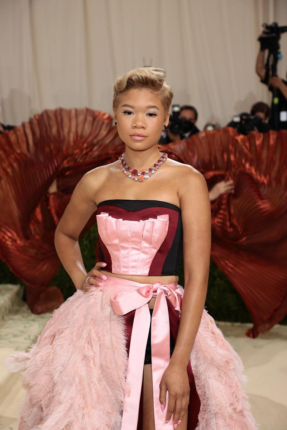 """<p>Storm Reid's honey blonde pixie cut, crafted by hairstylist <a href=""""https://www.instagram.com/greg_gilmore/"""" rel=""""nofollow noopener"""" target=""""_blank"""" data-ylk=""""slk:Greg Gilmore"""" class=""""link rapid-noclick-resp"""">Greg Gilmore</a>, paired perfectly with her subtle yet ultra glam pearl-adorned eyes. The actor finished off the look with a glossy nude lip. All makeup was done by <a href=""""https://www.instagram.com/paulyblanch/"""" rel=""""nofollow noopener"""" target=""""_blank"""" data-ylk=""""slk:Paul Blanch"""" class=""""link rapid-noclick-resp"""">Paul Blanch</a> using Maybelline products. </p>"""