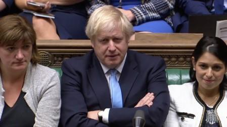 Britain's Prime Minister Boris Johnson is seen after BritainÕs parliament voted on whether to hold an early general election, in Parliament in London