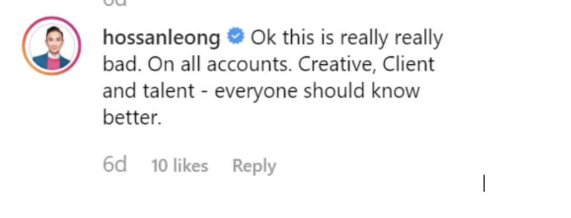 Hossan Leong's response. (PHOTO: Screenshot from Twitter)