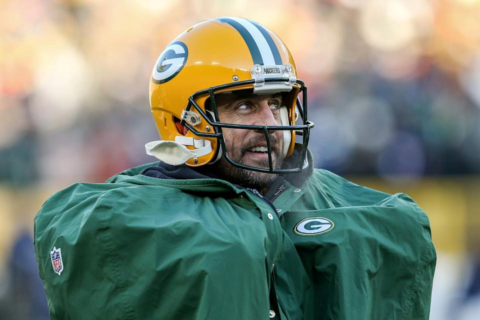 GREEN BAY, WISCONSIN - DECEMBER 15: Aaron Rodgers #12 of the Green Bay Packers looks on in the third quarter against the Chicago Bears at Lambeau Field on December 15, 2019 in Green Bay, Wisconsin. (Photo by Dylan Buell/Getty Images)