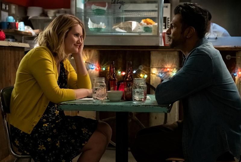 Jillian Bell in character as Brittany and Utkarsh Ambudkar on the set of Brittany Runs a Marathon.