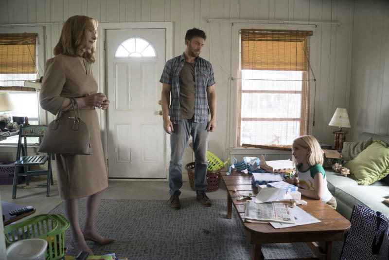"""In this image released by Fox Searchlight Pictures, Lindsay Duncan, from left, Chris Evans and McKenna Grace appear in a scene from, """"Gifted."""" (Wilson Webb/Fox Searchlight Pictures via AP)"""