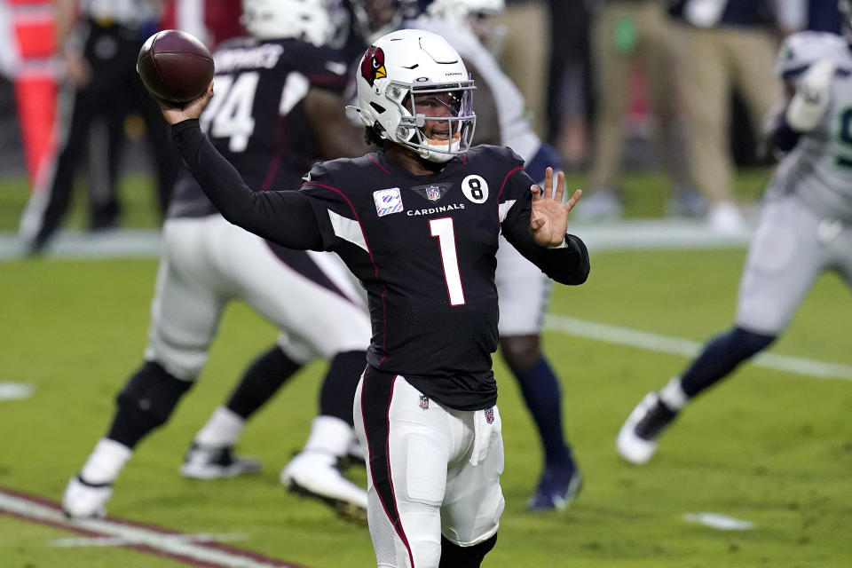 Arizona Cardinals quarterback Kyler Murray (1) looks to pass against the Seattle Seahawks during the first half of an NFL football game, Sunday, Oct. 25, 2020, in Glendale, Ariz. (AP Photo/Ross D. Franklin)