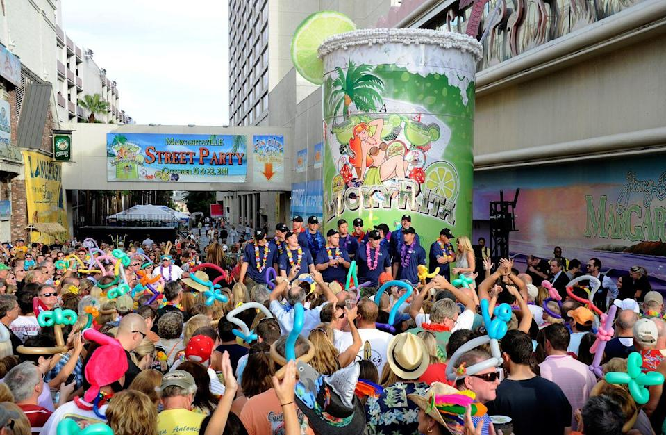 """<p><a href=""""http://www.guinnessworldrecords.com/world-records/largest-glass-of-margarita"""" rel=""""nofollow noopener"""" target=""""_blank"""" data-ylk=""""slk:The World's Largest Margarita"""" class=""""link rapid-noclick-resp"""">The World's Largest Margarita</a> was made in Nevada, taking over 300 hours and 60 people to make the 8,500-gallon behemoth. It was fittingly made at the Margaritaville Casino in Las Vegas. The two-story beverage was named """"Lucky Rita."""" We could definitely use a margarita of that size right now.</p><p><strong>RELATED:</strong> <a href=""""https://www.goodhousekeeping.com/food-recipes/g28669841/best-classic-cocktails/"""" rel=""""nofollow noopener"""" target=""""_blank"""" data-ylk=""""slk:16 Totally Delicious Classic Cocktails to Make at Home"""" class=""""link rapid-noclick-resp"""">16 Totally Delicious Classic Cocktails to Make at Home</a></p>"""