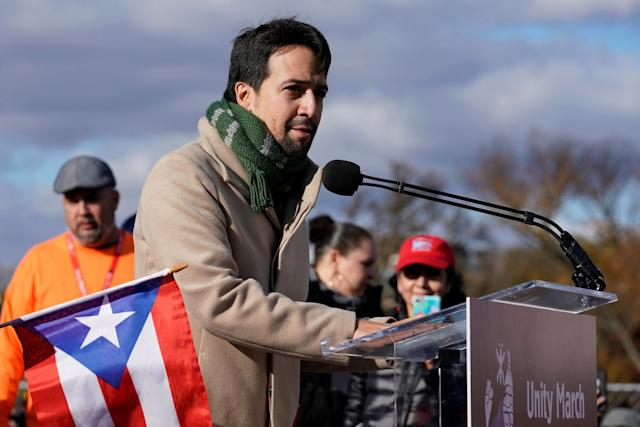 Lin-Manuel Miranda speaks to the crowd at the Lincoln Memorial in Washington on Sunday.