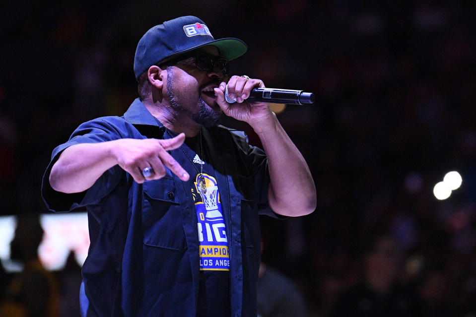 LOS ANGELES, CA - SEPTEMBER 01: Ice Cube performs at halftime during the BIG3 championship game between the Triplets and the Killer 3's on September 1, 2019 at the Staples Center in Los Angeles, CA.  (Photo by Brian Rothmuller/Icon Sportswire via Getty Images)