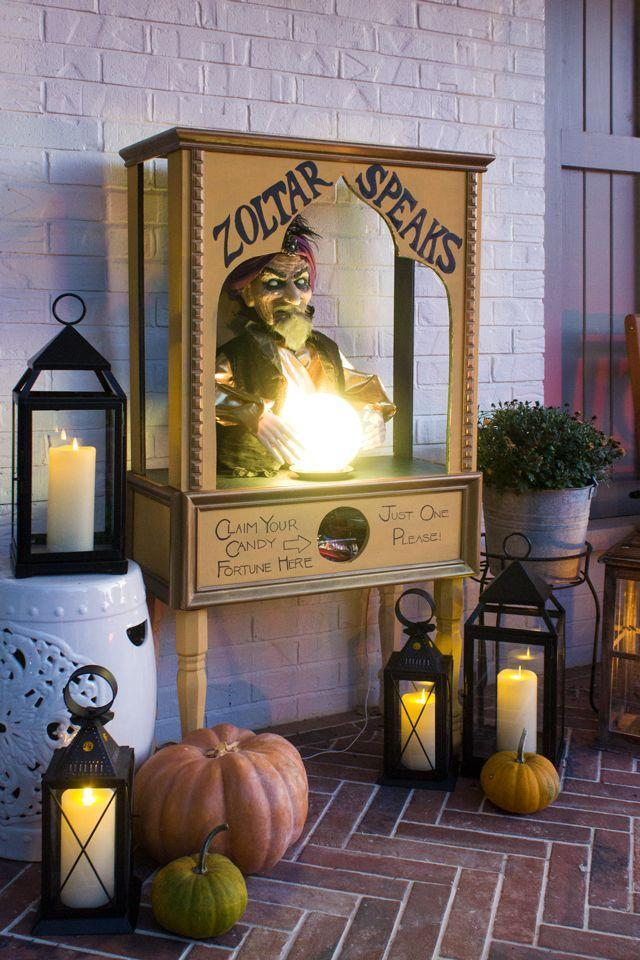 <p>Kids will have a blast tiptoeing up to this fortune-teller-themed Halloween candy dispenser. </p>