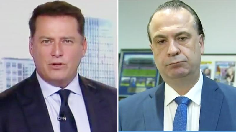 Today show host Karl Stefanovic is pictured in a 50/50 split image next to Peter V'landys.