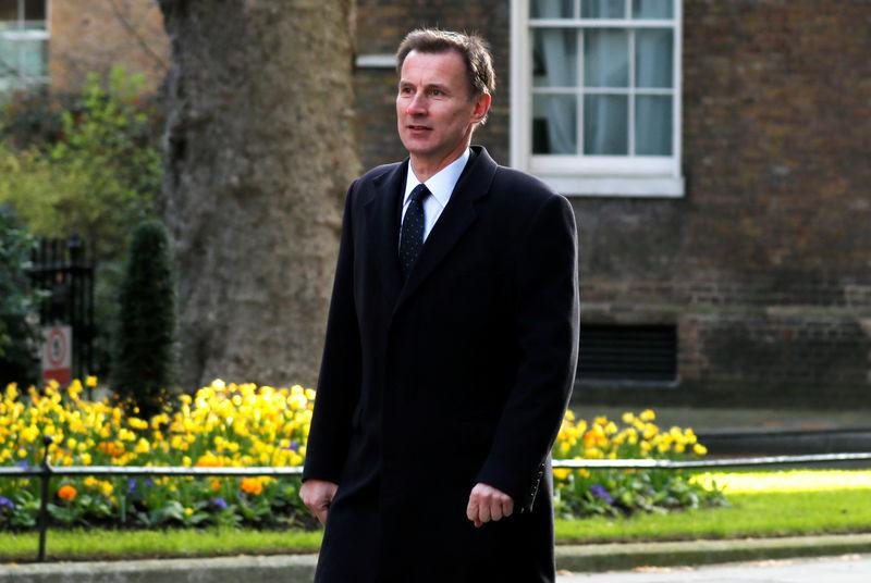 Britain's Foreign Secretary Jeremy Hunt is seen outside Downing Street in London