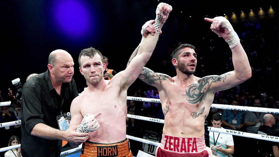 Jeff Horn is congratulated by Michael Zerafa after their during the middleweight bout between Jeff Horn and Michael Zerafa in Brisbane, Australia. (Photo by Bradley Kanaris/Getty Images)