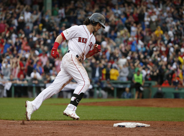 Red Sox left fielder Andrew Benintendi is in the running for AL Rookie of the Year. (AP Photo)
