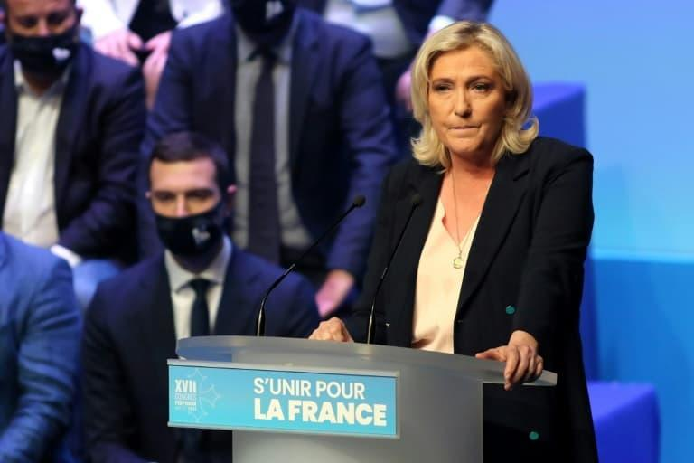 la présidente du Rassemblement National (RN) Marine Le Pen à Perpignan le 4 juillet 2021     AFP/Valentine CHAPUISMarine Le Pen won re-election as head of France's far-right National Rally on July 4, 2021, at a party congress, where she is seeking new impetus for her 2022 presidential bid after performing badly in regional polls. - VALENTINE CHAPUIS © 2019 AFP