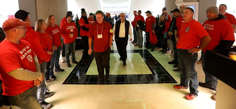 Many members of the GM Lordstown Assembly Plant in Lordstown, Ohio gather at the Renaissance Center in downtown Detroit on Thursday, Oct. 17, 2019, ahead of the GM-UAW vote on a new contract.