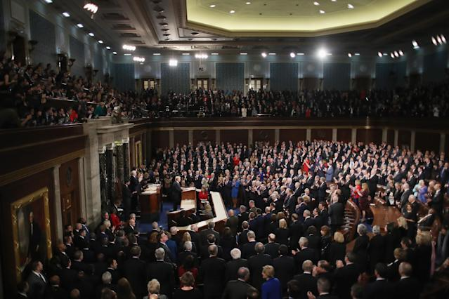 <p>Trump delivers his first State of the Union address in the chamber of the U.S. House of Representatives on Jan. 30 in Washington, D.C. (Photo by Mark Wilson/Getty Images) </p>