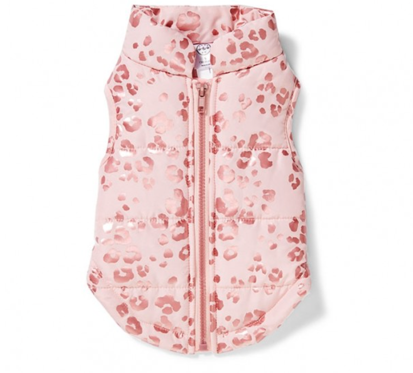Pink puffer jacke for dogs