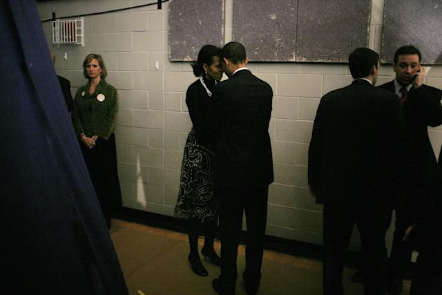 Then-Sen. Barack Obama and his wife Michelle Obama backstage before going out to face their supporters at a primary night rally in the gymnasium at the Nashua South High School on Jan. 8, 2008 in Nashua, New Hampshire.