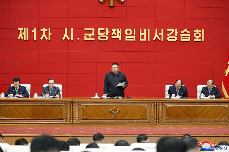 North Korea's leader Kim Jong Un speaks during the first short course for chief secretaries of the city and county Party committees in Pyongyang