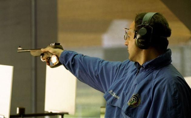 23 Jul 1996:  Roberto Di Donna of Italy in action in the mens 50m free pistol at the Wolf Creek Complex at the 1996 Centennial Olympic Games in Atlanta Georgia. Di Donna won the Bronze medal. Mandatory Credit: Rusty Jarret  /Allsport (Photo: Rusty Jarrett via Getty Images)