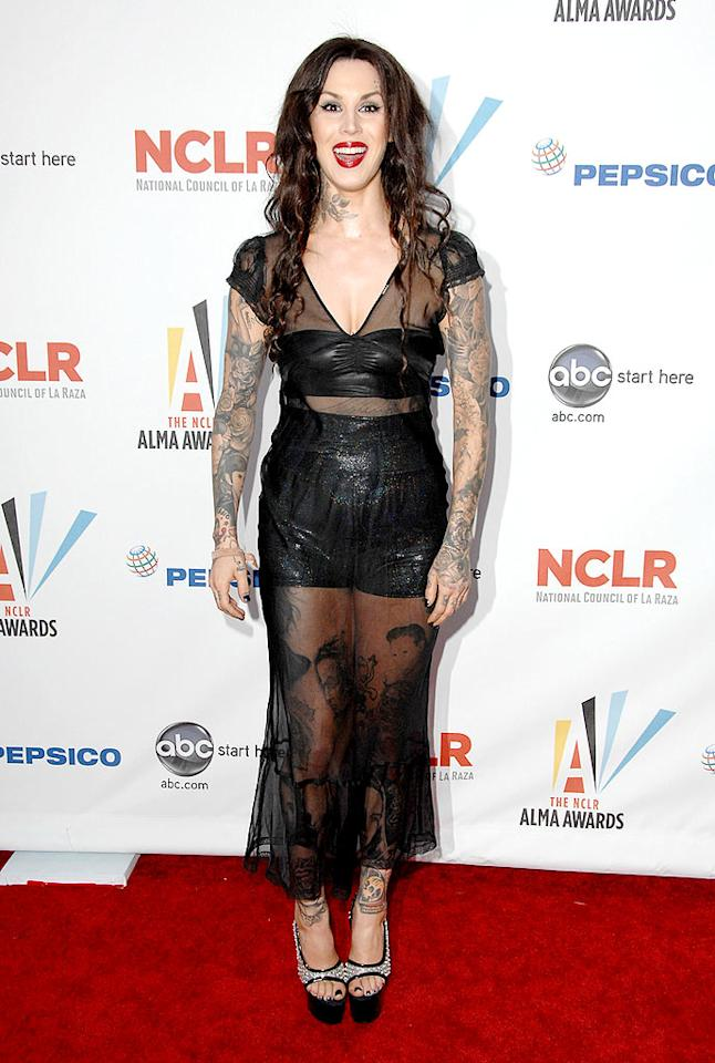 "We get it; Kat Von D has tons of tattoos. But, does she really need to put all of them on display every single time she strolls down the red carpet? It's getting old. Steve Granitz/<a href=""http://www.wireimage.com"" target=""new"">WireImage.com</a> - September 17, 2009"