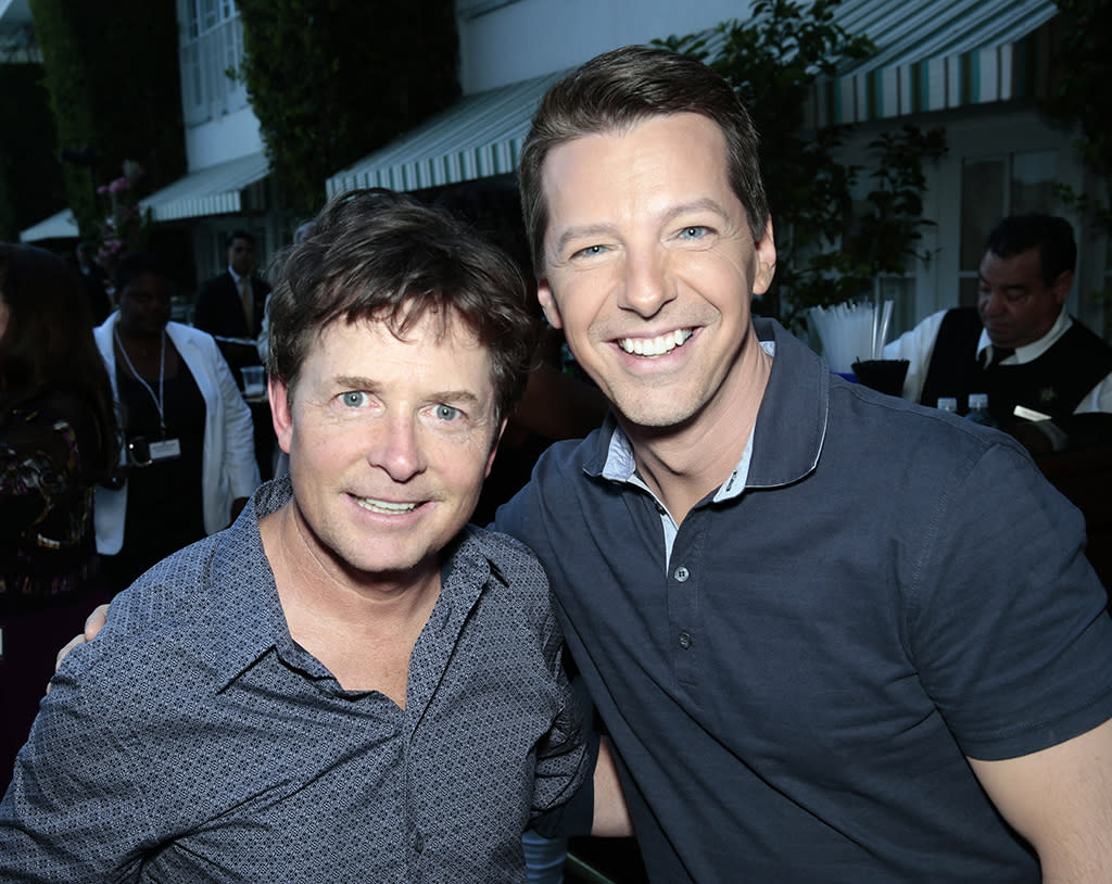 "Michael J. Fox (""The Michael J. Fox Show"") and Sean Hayes (""Sean Saves the World"") at the NBC Cocktail Reception during the 2013 Summer Television Critics Association tour."