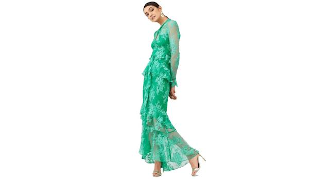 V by Very Lace Ruffle Front Maxi Dress