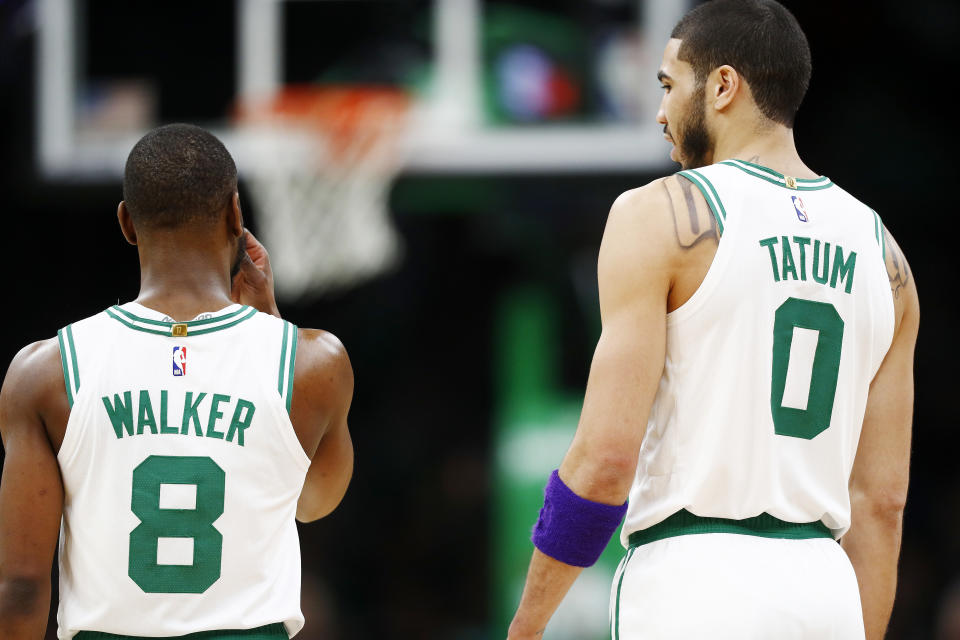 Kemba Walker and Jayson Tatum elevate Boston's title chances if they can make their stardom mesh. (Omar Rawlings/Getty Images)