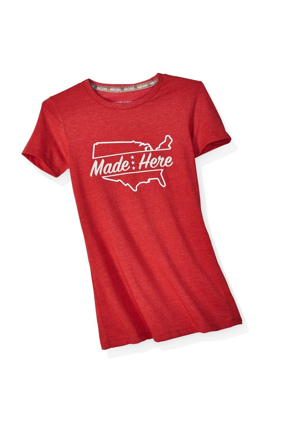 """<p><strong>Made Here Brand</strong></p><p>$14</p><p><a class=""""link rapid-noclick-resp"""" href=""""https://madeherebrand.com/collections/american-made/products/cross-country-womens-tee"""" rel=""""nofollow noopener"""" target=""""_blank"""" data-ylk=""""slk:SHOP NOW"""">SHOP NOW</a> </p><p><em>Originally $14, now 20 percent off with code OPRAH </em></p><p>Celebrate the Fourth of July by investing in the talent and ingenuity of the American worker. Cofounded by actor Scott Eastwood, Made Here produces very adorable and extremely affordable tees in Los Angeles.</p>"""
