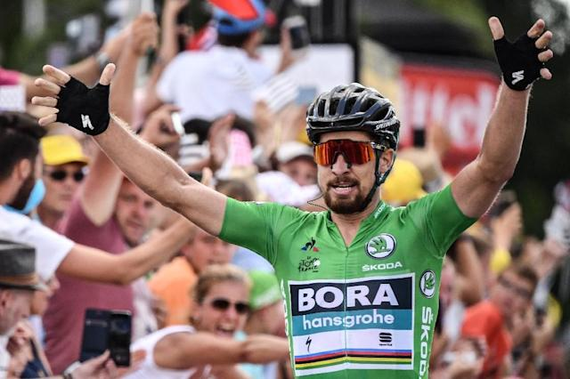Slovakian Peter Sagan raises his arms in triumph at the end of stage five on the Tour de France. (AFP Photo/Jeff PACHOUD)
