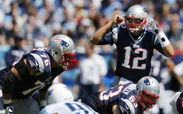 New England Patriots quarterback Tom Brady (12) calls a play as teammates Sebastian Vollmer (76) and Dan Connolly (63) line up against the Tennessee Titans in the first quarter of an NFL football game on Sunday, Sept. 9, 2012, in Nashville, Tenn. (AP Photo/Joe Howell)