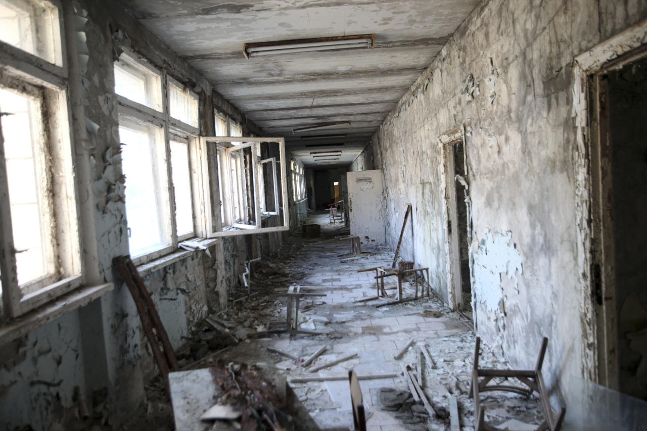 An abandoned middle school, part of the contaminated area surrounding the Chernobyl Nuclear Power Plant, in Pripyat, Ukraine, March 17, 2011. The ghost town which once had a population of about 50,000 people, was given a few hours to evacuate in April 1986 as radiation streamed into populated areas after an explosion at the reactor. (Joseph Sywenkyj/The New York Times) -- MAGS OUT/NO SALES --