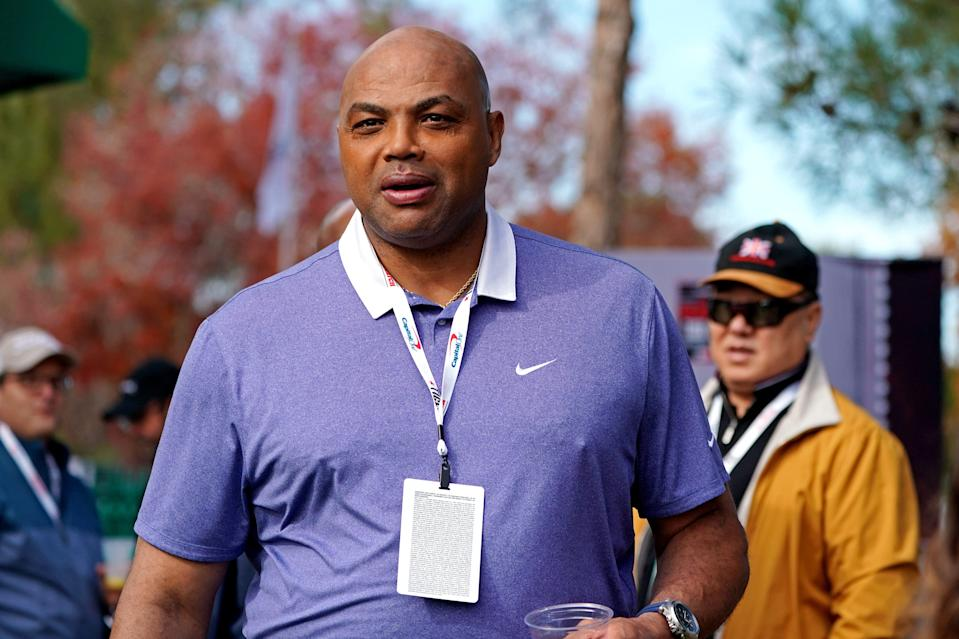 Charles Barkley before The Match: Tiger vs Phil golf match in 2018 at Shadow Creek Golf Course.