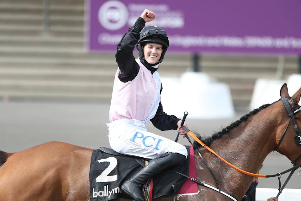 Rachael Blackmore celebrates victory with Bob Olinger on day two of the Cheltenham Festival.  Photo credit: David Davies/PA Wire for the Jockey Club.