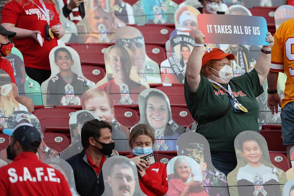 Fans sit in the stands among cardboard cutouts before Super Bowl LV between the Tampa Bay Buccaneers and the Kansas City Chiefs at Raymond James Stadium (Getty Images)