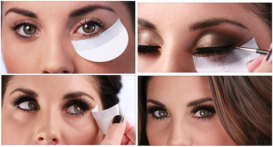 """I saw a makeup artist use these on Theresa from """"The Real Housewives of New Jersey""""<i>— </i>she was giving her a seriously smoky eye that had ZERO fallout. So please sign me up.<br /><br /><strong>Promising review:</strong>""""Shadow Shields are awesome and very simple to use. I use these on my clients all the time! The purpose of this product is to eliminate messy situations with makeup application like smudges, streaks, and shadow fallout.<strong>It has become my best friend when creating a perfect winged eyeliner.</strong>Ladies are who getting into beauty really would benefit from this a lot. I also like that this product saves me time with my clients and myself. I don't have to worry about being perfect with my eye shadow. TIP: Cut the shadow shields in half to increase longevity. If you doing a more drastic look use a whole shadow shield."""" —<a href=""""https://www.amazon.com/gp/customer-reviews/R1QTKTJELO3XGZ?&linkCode=ll2&tag=huffpost-bfsyndication-20&linkId=b0c1a3592da3a220f9695331c3497193&language=en_US&ref_=as_li_ss_tl"""" target=""""_blank"""" rel=""""noopener noreferrer"""">Blossom</a><br /><br /><strong>Get a pack of 30 from Amazon for <a href=""""https://www.amazon.com/dp/B00UCEMBXI?&linkCode=ll1&tag=huffpost-bfsyndication-20&linkId=361f77f5c710812b331b330d07a95b60&language=en_US&ref_=as_li_ss_tl"""" target=""""_blank"""" rel=""""noopener noreferrer"""">$8.89</a>.</strong>"""