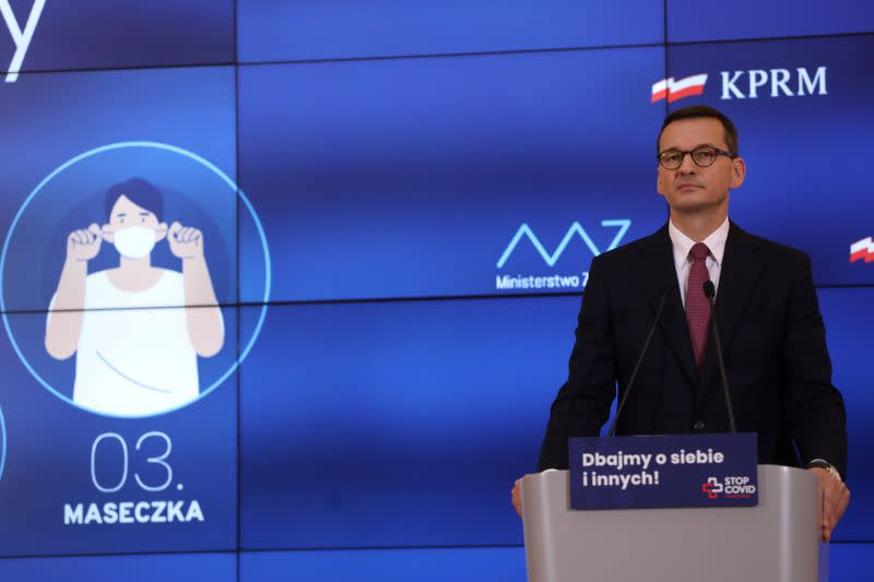 Poland's Prime Minister Morawiecki speaks during a news conference about coronavirus disease (COVID-19) in Warsaw