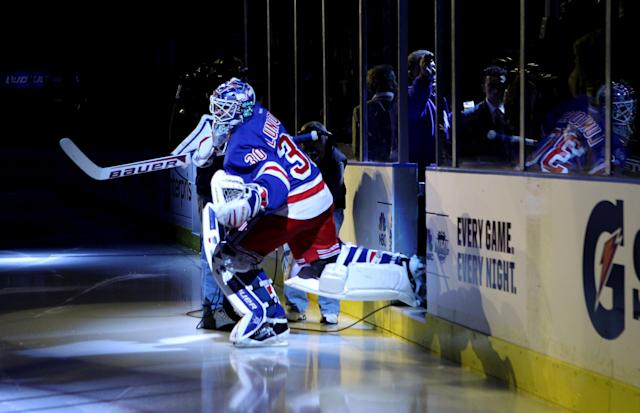 NEW YORK, NY - APRIL 12: Goalie Henrik Lundqvist #30 of the New York Rangers skates onto the ice to play against the Ottawa Senators in Game One of the Eastern Conference Quarterfinals during the 2012 NHL Stanley Cup Playoffs at Madison Square Garden on April 12, 2012 in New York City. (Photo by Bruce Bennett/Getty Images)