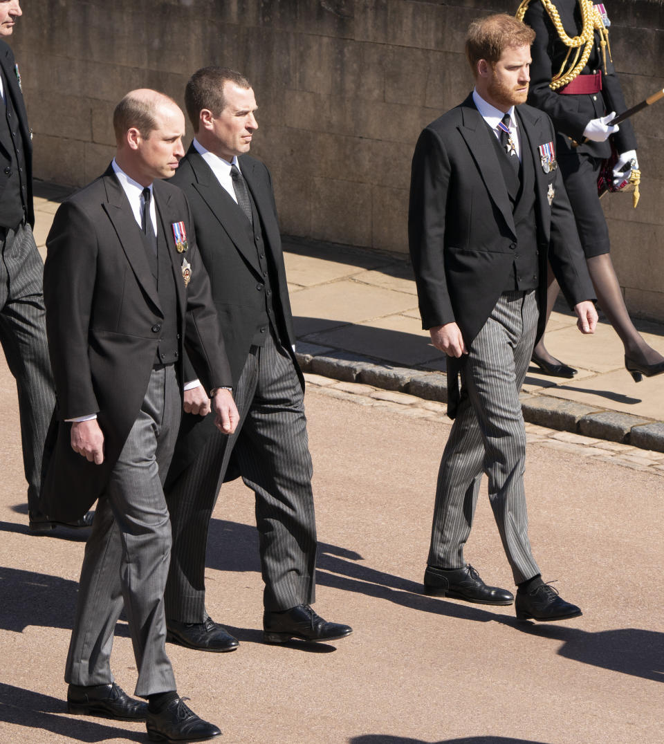 Prince William, Peter Phillips and Prince Harry at Prince Philip's funeral