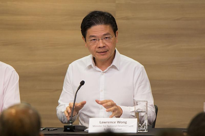 Minister for National Development Lawrence Wong speaking at the Multi-Ministry press conference on Monday (27 January). (PHOTO: Dhany Osman / Yahoo News Singapore)