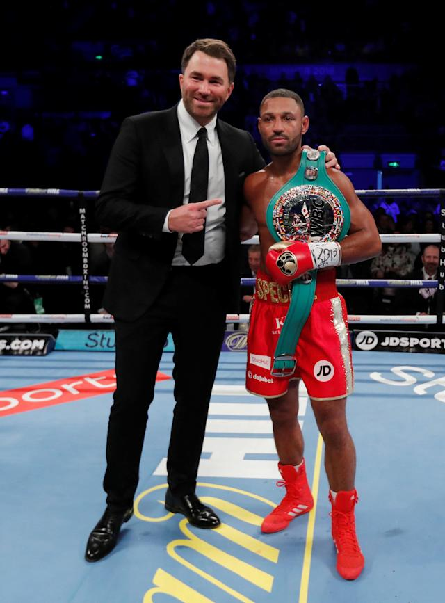 Boxing - Kell Brook vs Sergey Rabchenko - Sheffield, Britain - March 3, 2018 Kell Brook celebrates with Eddie Hearn after winning the fight Action Images via Reuters/Andrew Couldridge