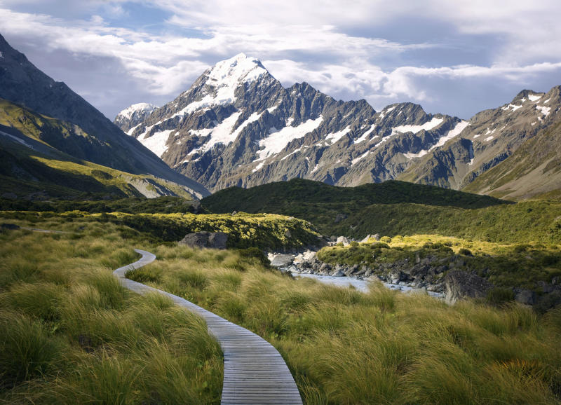 Section of the foot trail leading to the base of Mt. Cook (the tallest mountain in New Zealand), Aoraki/Mt. Cook National Park.