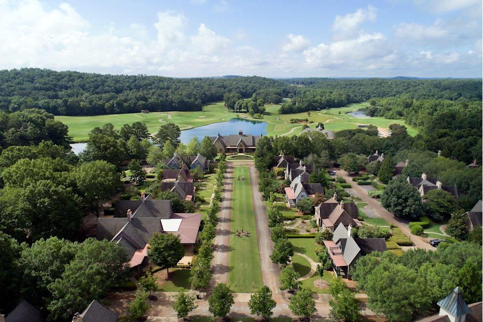 """<p>The illustrious story of <a href=""""https://www.barnsleyresort.com/"""" rel=""""nofollow noopener"""" target=""""_blank"""" data-ylk=""""slk:Barnsley Resort"""" class=""""link rapid-noclick-resp"""">Barnsley Resort</a> begins in the 1840s, as Godfrey Barnsley, a nobleman and transplant from Liverpool, England, began building an Italianate villa for his wife, Julia, who died before its completion. The home and its fabulous gardens were inspired by the iconic American landscaper Andrew Jackson Downing and features marble from Italy and France, paying a luxurious homage to Godfrey's beloved late wife.</p><p>The 4,000-acre property now serves as a storybook-like resort featuring 150 rooms, suites, and cottages in total. A visit to Barnsley is all about exciting educational opportunities, from archery lessons to tours of the Manor House & Gardens, along with wine and wellness experiences—and everything in between. And at just an hour from Atlanta, you'll feel in a world of your own without being far from home. </p>"""