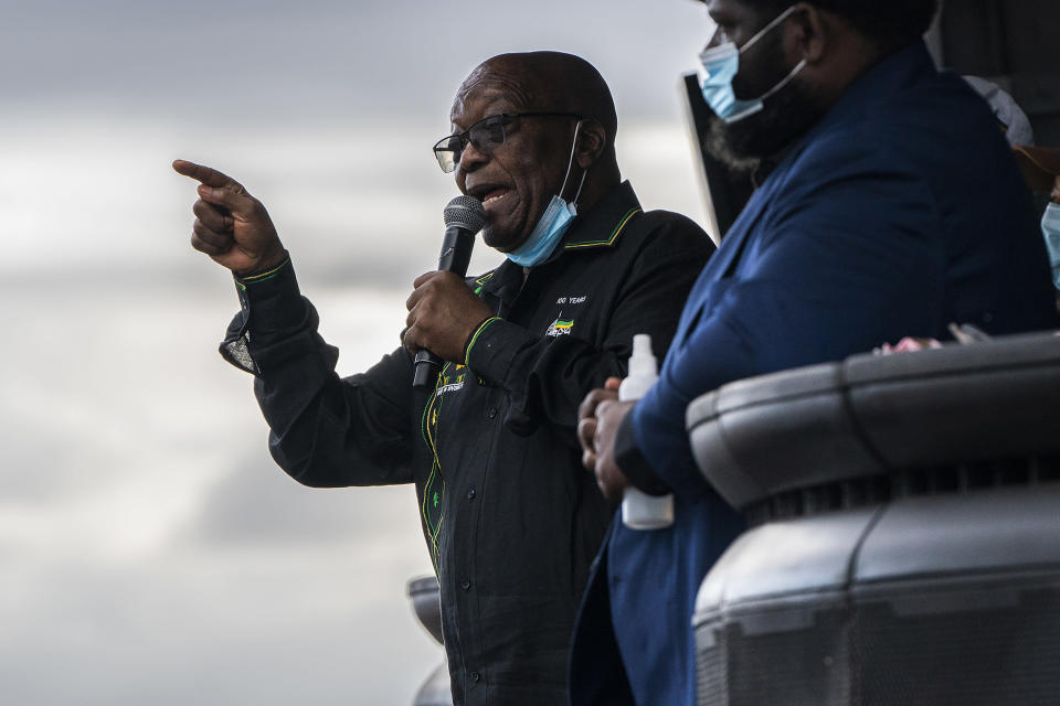 FILE - In this Sunday, July 4, 2021 file photo, former President Jacob Zuma addresses supporters at his home in Nkandla, KwaZulu-Natal Province, South Africa. Zuma has been granted medical parole, after serving two months of a 15-month sentence for contempt of court. (AP Photo/Shiraaz Mohamed, File)