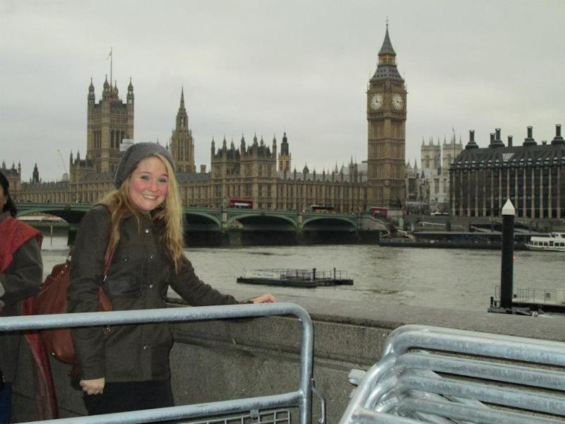 Maisy in London with Big Ben in the background.