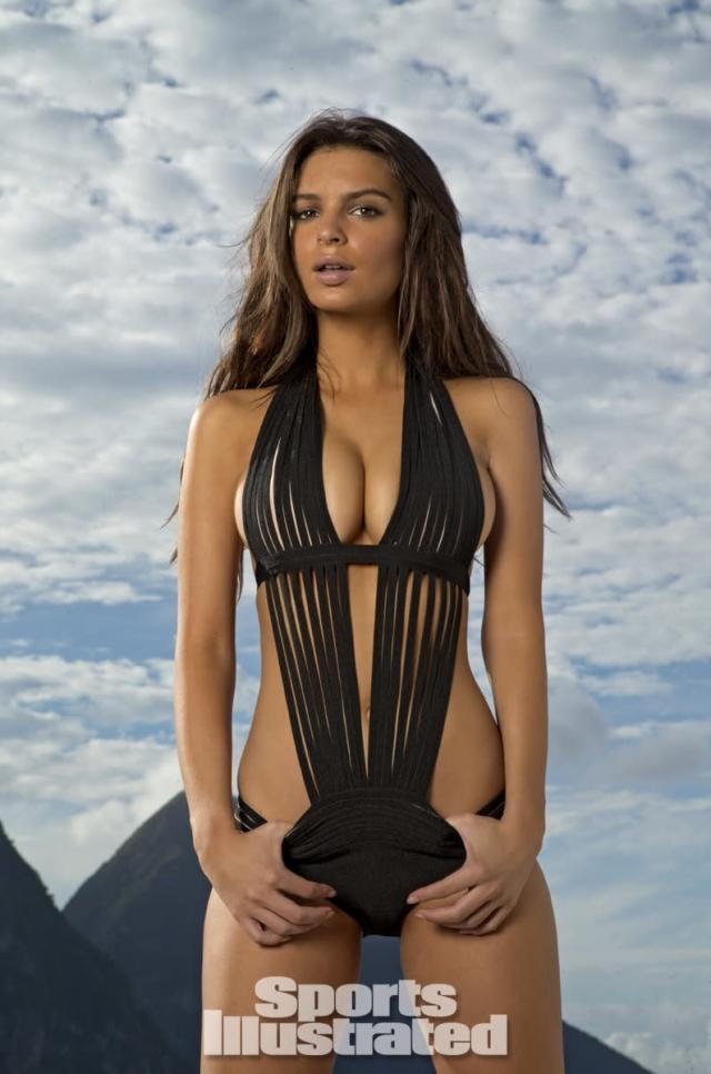 <p>Emily Ratajkowski was photographed by Walter Iooss Jr. at Caille Blanc Villa, in Soufriere, St. Lucia. Swimsuit by Herve Leger by Max Azria.</p>