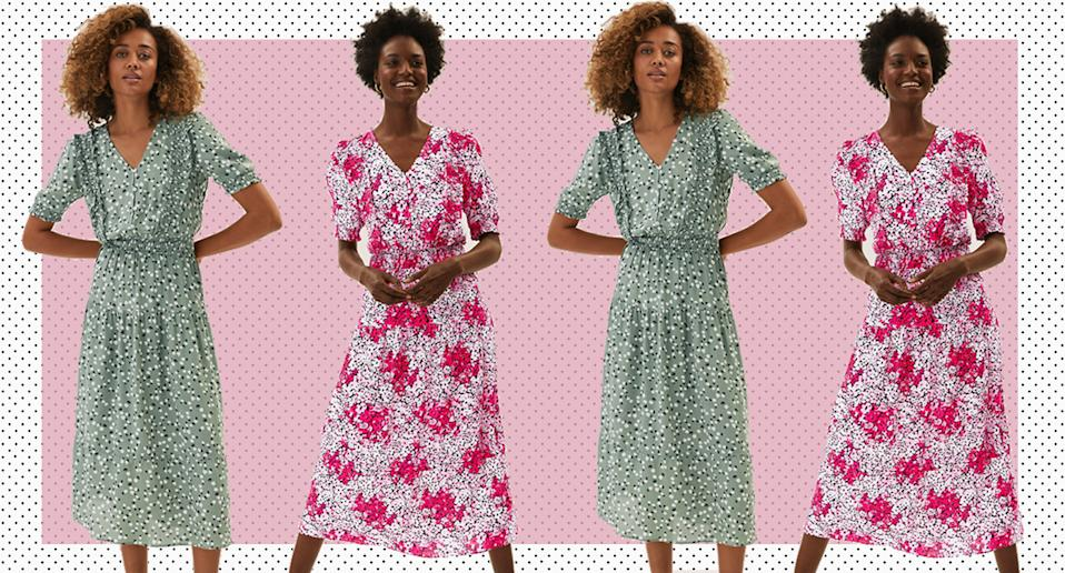 Dress of the day: This floral frill midi dress from M&S. (Marks & Spencer)