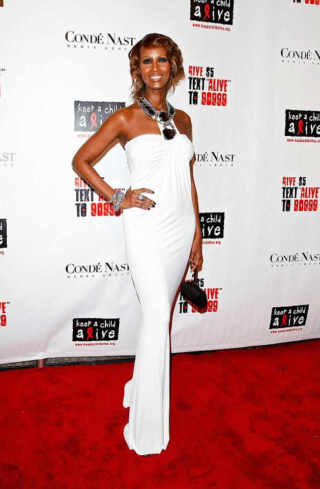"The always gorgeous Iman, who co-hosted the cocktail party, wowed in white. B. Ach/<a href=""http://www.infdaily.com"" target=""new"">INFDaily.com</a> - November 13, 2008"