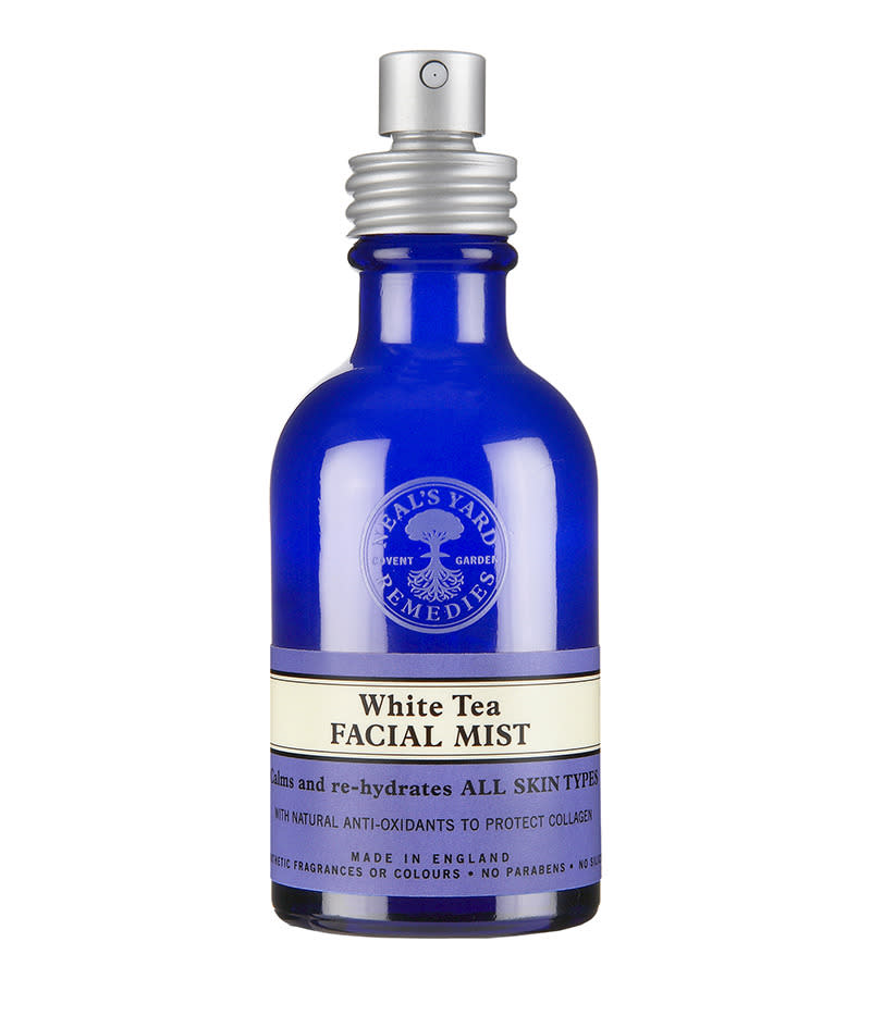 """<p>Another hydrating facial mist we love for a quick after-work spritz, with antioxidant white tea. <a href=""""https://us.nyrorganic.com/shop/corp/product/0352/white-tea-facial-mist-1-52-fl-oz/?a=12&cat=0&search=white%20tea"""">Neal's Yard White Tea Facial Mist</a>, $19 (Photo courtesy Neal's Yard) </p>"""