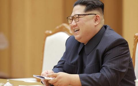 Only 192 refugees from Kim Jong-Un's regime in North Korea made it south in the first quarter of 2018, a 31% drop on the previous year - Credit: KCNA via KNS/AFP